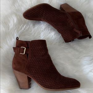 Violet & Red Chocolate Brown Suede Ankle Boots
